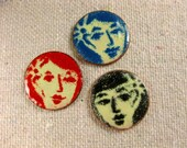 ENAMELED PENNY PINS  Faces  Girl with Flower in Hair