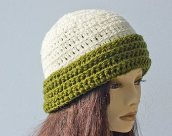 Hand Crocheted Brimmed Hat, Green White Winter Hat, Woman's Crochet Hat,  Vegan Hat,, Ready to Ship