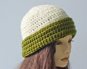 SALE, Hand Crocheted Brimmed Hat, Green White Winter Hat, Woman's Crochet Hat,  Vegan Hat, Ready to Ship