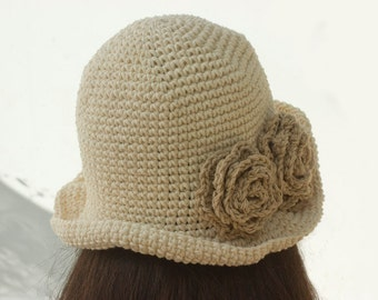 Flower Sun Hat, Fall Hat, Summer Hat,  Cotton Hat,  Cream Bucket Vegan Hat, Boho Style, Natural Fiber