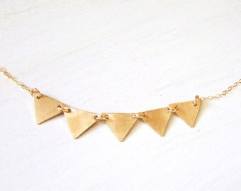 Gold Triangle Necklace, Banner Necklace, Personalized Jewelry, Gold Jewelry, Every Day Wear Necklace, Modern Design Jewelry