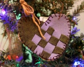 Woven Dutch Heart Ornie, Repurposed Wool and Burlap  Green and Purple Ornament #492