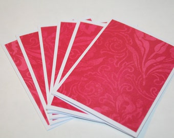 Note Cards, 6 Blank Note Cards,  Red and Pink Floral
