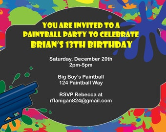 Paintball Party Birthday Invitation Printable Invitation Digital  DIY Image Your Choice