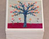 Tree Jewelry Box, Burgundy and Grey Wooden Trinket Box