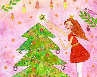 Christmas Tree Art Print, Large Poster Print 40x50 cm (16x20 inch), Nursery Decor