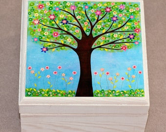 Jewelry Box -Tree Jewelry Box - Wooden Jewelry Box - Handmade Jewellery Box - Sunlight