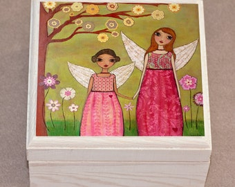 Sister Jewelry Box Pink Wooden Jewelry Box Fairy Jewellery Box