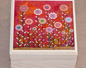 Flower Jewelry Box Wooden Jewellery Trinket Box