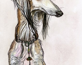 A Distant Thought- Saluki Hound Dog Print