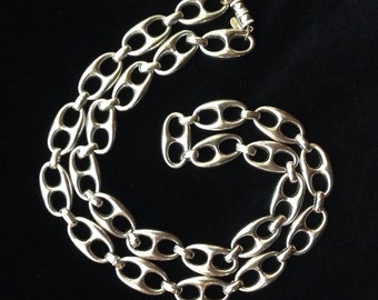 Signed Les Bernard Silvertone Link Designer Necklace Vintage 1960s