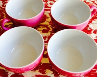 """New Schnowald Germany Bone China #8189 Dibbern Collection Set of 4 Coffee/Tea Cups #25 Fuchsia Pink 2 1/2"""" H, 3 1/2"""" across holds 3/4-1 cup"""