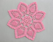 Pink Crochet Round Doily with Pineapple Motifs
