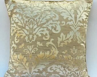 "Designer Cream Throw Pillows Cover, 16""x16"" Burnout Velvet Pillow Covers, Square  Damask Pillows Cover - Creamy Damask"
