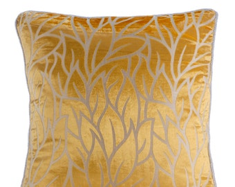 "Mimosa Yellow Pillows Cover, 16""x16"" Burnout Velvet Pillowcase, Square  Leaf Design Tropical Theme Pillow Covers - Mimosa Yellow Leaves"
