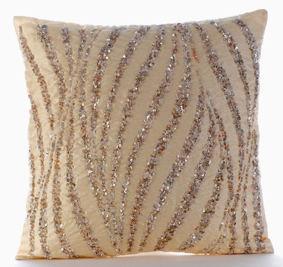Beige Decorative Pillow Cover 16x16 Silk Pillows