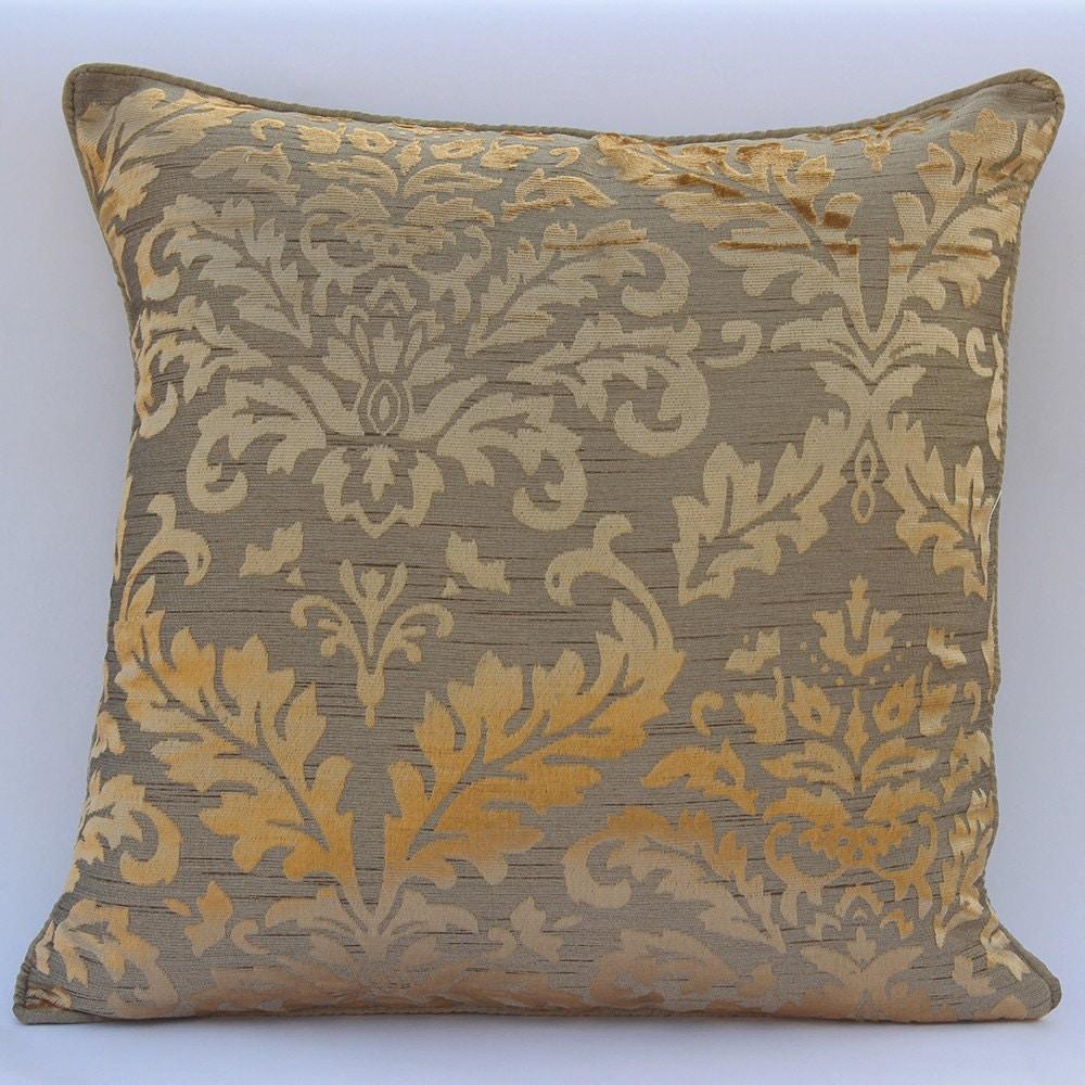 Throw Pillows Horchow : Handmade Gold Throw Pillows Cover 16x16 Burnout