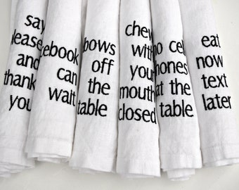 Manners Napkins Linen Dinner Napkins WHITE Linen Gifts Typography Set of 6 17x17 inch Napkins Housewarming Gifts Black and White Vegan