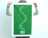 IN STOCK The Archers Tea Towel Dish Kitchen Screen Printed Green Gift Radio 4