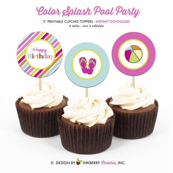 Color Splash Pool Party Birthday Printable 2 Inch Round