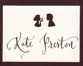 Place card with Bride Groom Silhouette and Custom Calligraphy