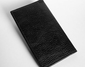 Black Leather Checkbook Cover with Heavy Pebble-Grain Texture