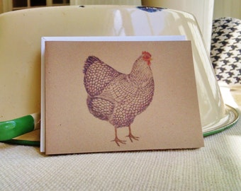 Chicken Rooster Tea Towel & Card Set, Rooster Farm Towel and Cards