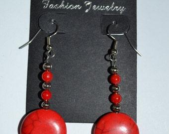 Red Beaded Dangle Earrings