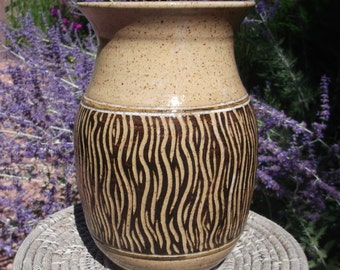 Vase with Beautiful Hand Carved Design - Visit shop for more handmade pottery