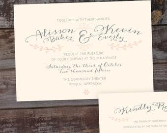 Vintage wedding invitation, blush wedding invitations, elegant wedding invitations, wedding invitation template, printable wedding inviation