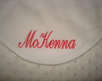Personalized Blanket - Thermal Waffle Weave Blanket Available in White, Light Pink or Light Blue