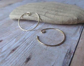 Petite Gold Hoop Earrings, Handcrafted Gold Hoop Earrings