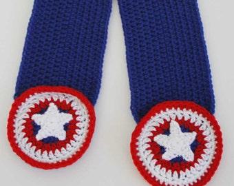 Superhero Shield Pocket Crochet Scarf Pattern - PDF