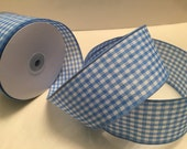 Wide Gingham Ribbon, Blue Checks, Embellishment, Scrapbook, Bows, Easter Baskets, Sewing, Crafting Supply, Decoration, Gift Wrap, 3 Yards