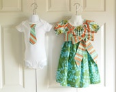 Matching Outfits Brother Sister Siblings - Girls Peasant Dress and Boys Tie Bodysuit Tshirt - Orange/Blue Belle Collection