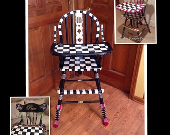 Wood high chair custom painted black and white checks whimsical furniture