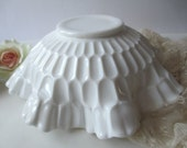 Large Fenton Milk Glass Thumbprint Serving Bowl