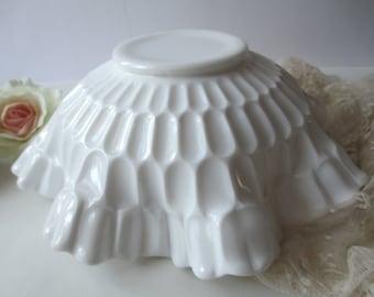 Large Fenton Milk Glass Thumbprint Serving Bowl