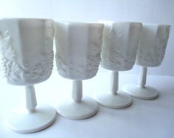 Vintage Westmoreland Milk Glass Paneled Grape Elegant Water Goblets Set of Four