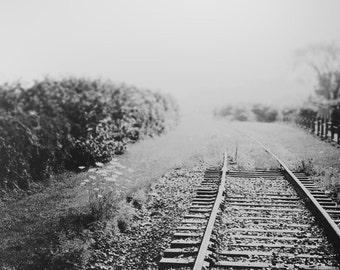 "Black And White Photography - Nova Scotia Canada Train Tracks Surreal Tilt Shift Photo Landscape Dreamy Whimsical Print ""Train To Nowhere"""