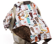 Boy Cowboy Carseat Canopy, Car Seat Canopy, Carseat Cover, Baby Boy, Cowboy Boots, Country Western, Brown Minky, Cowboy Cotton