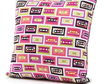 Throw Pillow, Accent Pillow, Twin Pillow, Bed Pillow, Girl Pillow, Cassette Tapes, Retro, Music Theme