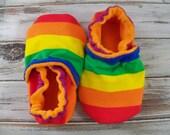 Rainbow stripe baby crib shoes, booties, custom size preemie, newborn, 0,3,6,9,12,18, 24 months, girl, boy ROYGBIV