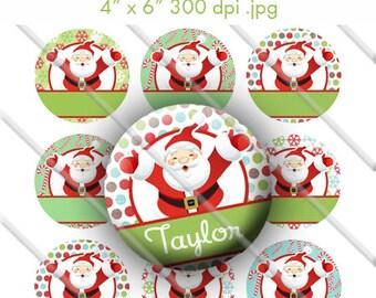 Editable Santa Claus Bottle Cap Collage Digital Set 1 Inch Circle 4x6 - Instant Download - BC342