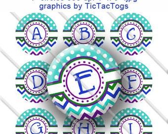 Turquoise Polka dot Blue Green Purple Chevron Bottle Cap Images Digital Collage 1 Inch A-Z  Alphabet Alpha - Instant Download - BC448