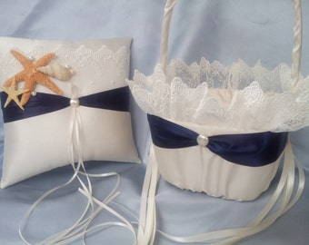 Elegant Bridal Lace Beach Theme Ivory Navy Blue with Accent Pearl Wedding Ring Bearer Pillow and Flower Girl Basket Starfish Seashell Sash