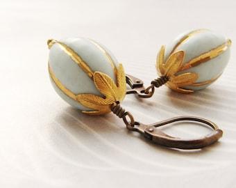 Vintage drop earrings, Vintage Lucite bead dangle earrings, Gilded gold robin egg blue earrings gift for her, gift for aunt