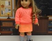 Neon Stripes - Sweatshirt and mini skirt for American Girl