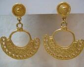 Chunky Tribal Gold Earrings Pierced Post Vintage Mayan