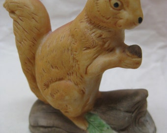 Squirrel Figurine Brown Vintage Miniature Porcelain